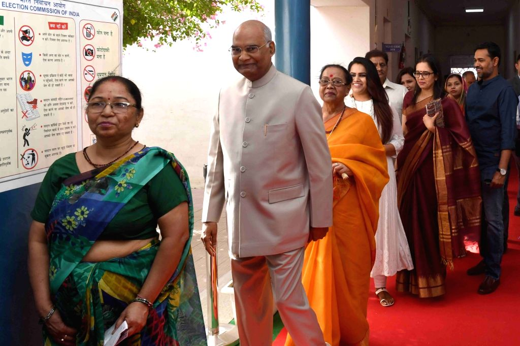 President Ram Nath Kovind arrives to cast his vote during the sixth phase of 2019 Lok Sabha elections, in New Delhi on May 12, 2019. - Nath Kovind