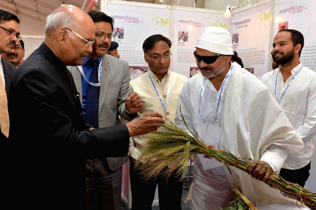 President Ram Nath Kovind at an exhibition organised as part of the Festival of Innovation and Entrepreneurship (FINE) 2019 in Gandhinagar, on March 15, 2019. - Nath Kovind