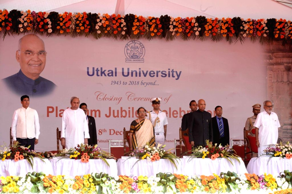 President Ram Nath Kovind at the closing ceremony of the Platinum Jubilee celebrations of the Utkal University in Bhubaneswar Dec 8, 2019. Also seen Odisha Governor Prof. Ganeshi Lal and ... - Naveen Patnaik and Nath Kovind