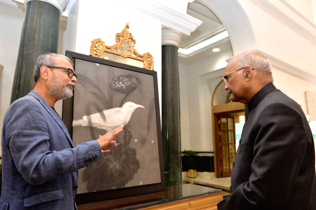 President Ram Nath Kovind attends an exhibition of paintings set up by Artists-In-Residence at Rashtrapati Bhavan in New Delhi on Nov. 17, 2019. - Nath Kovind
