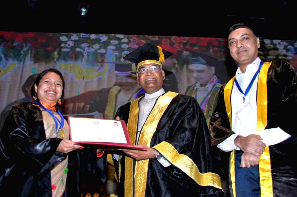 President Ram Nath Kovind awards degree to a student during the 7th Convocation of Indian Institute of Science Education and Research (IISER) in Chandigarh on May 20, 2018. - Nath Kovind