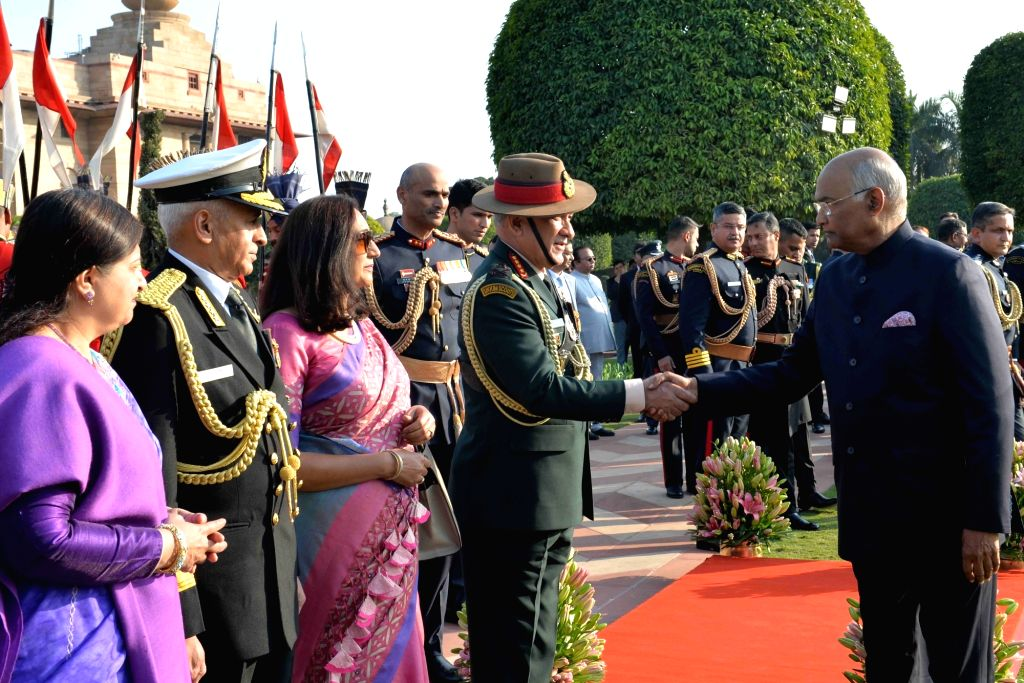 President Ram Nath Kovind being greeted by Army Chief General Bipin Rawat during 'At Home' reception organised at at Rashtrapati Bhavan in New Delhi, on Jan 26, 2019. Also seen Navy ... - Nath Kovind