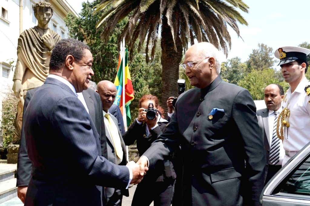 President Ram Nath Kovind being recieved by Ethiopian President Mulatu Teshome during on dhis arrival at the Presidential Palace in Ethiopia on Oct 5, 2017. - Nath Kovind
