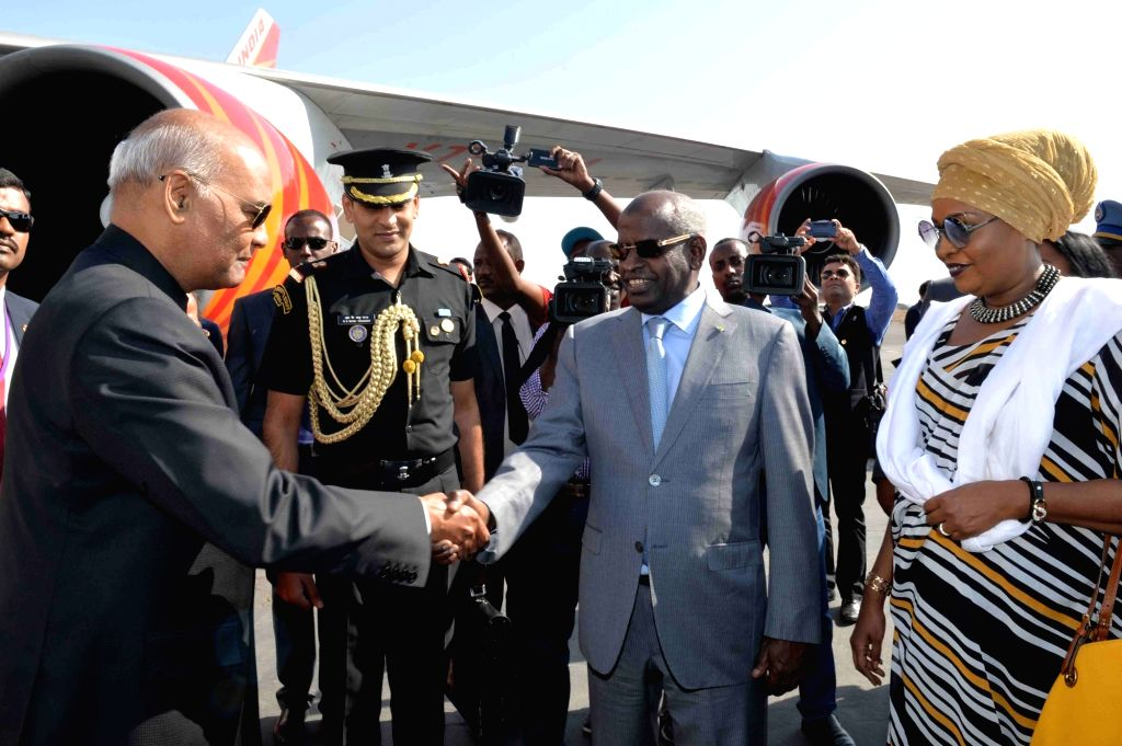 President Ram Nath Kovind being welcomed by Djibouti Prime Minister Abdoulkader Kamil Mohamed on his arrival at Djibouti - Ambouli International Airport on Oct 3, 2017. - Abdoulkader Kamil Mohamed and Nath Kovind