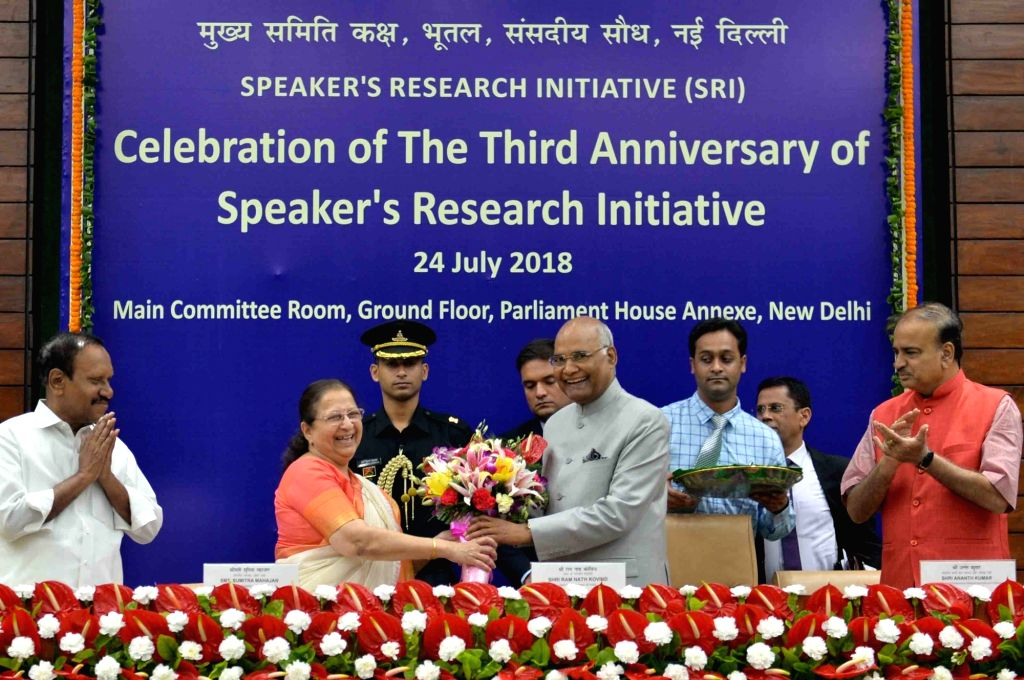 President Ram Nath Kovind being welcomed by Lok Sabha Speaker Sumitra Mahajan during the third anniversary celebrations of Speaker's Research Initiative, in New Delhi on July 24, 2018. ... - Sumitra Mahajan, Nath Kovind and Ananth Kumar