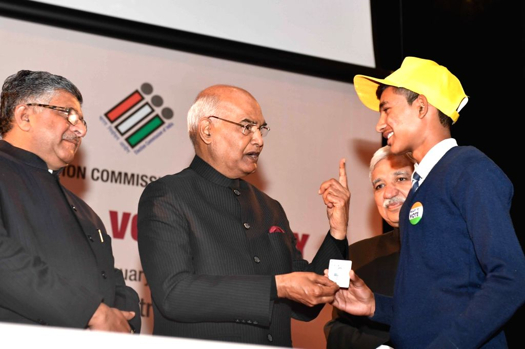 President Ram Nath Kovind, Chief Election Commissioner Sunil Arora and Union Law and Justice Minister Ravi Shankar Prasad at the 9th National Voters' Day programme, in New Delhi on January ... - Ravi Shankar Prasad and Nath Kovind