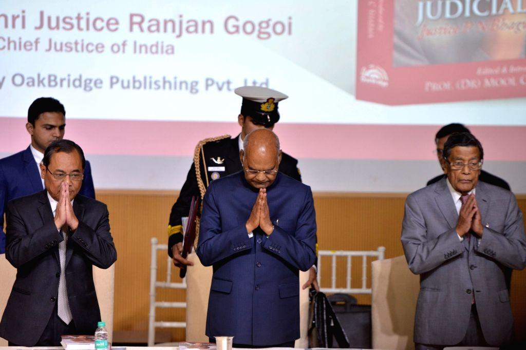 "President Ram Nath Kovind, Chief Justice of India Ranjan Gogoi and Attorney General of India K K Venugopal at the launch of the book ""Law, Justice and Judicial Power: Justice P.N. ... - Nath Kovind"