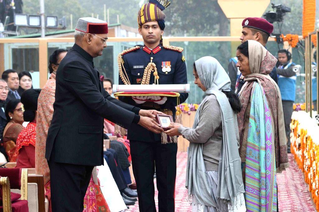 President Ram Nath Kovind confers Ashok Chakra - the country's highest peacetime gallantry award to Corporal Jyoti Prakash Nirala during the 69th Republic Day parade at Rajpath in New ... - Nath Kovind