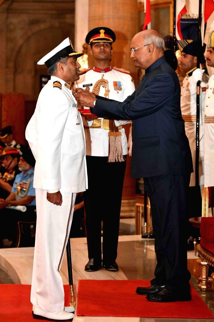 President Ram Nath Kovind confers Ati Vishisht Seva Medal (AVSM) - Gallantry Awards on Captain P Rajkumar during the 2019 Defence Investiture Ceremony- I at Rashtrapati Bhavan, in New ... - P Rajkumar and Nath Kovind