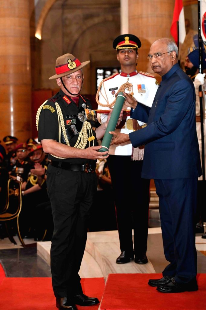 President Ram Nath Kovind confers Param Vishisht Seva Medal (PVSM) - Gallantry Awards on Army chief General Bipin Rawat during the 2019 Defence Investiture Ceremony- I  at Rashtrapati ... - Nath Kovind