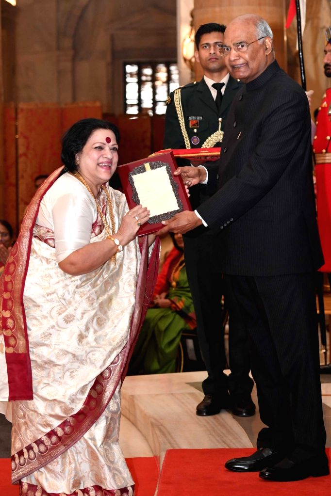 President Ram Nath Kovind confers Sangeet Natak Akademi Award 2017 on classical singer Haimanti Sukla during a special investiture ceremony at Rashtrapati Bhawan in New Delhi on Feb 6, ... - Nath Kovind