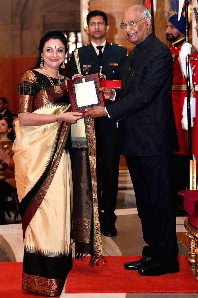 President Ram Nath Kovind confers Sangeet Natak Akademi Award 2017 on Kuchipudi dancer Deepika Reddy during a special investiture ceremony at Rashtrapati Bhawan in New Delhi on Feb 6, 2019. - Nath Kovind and Deepika Reddy