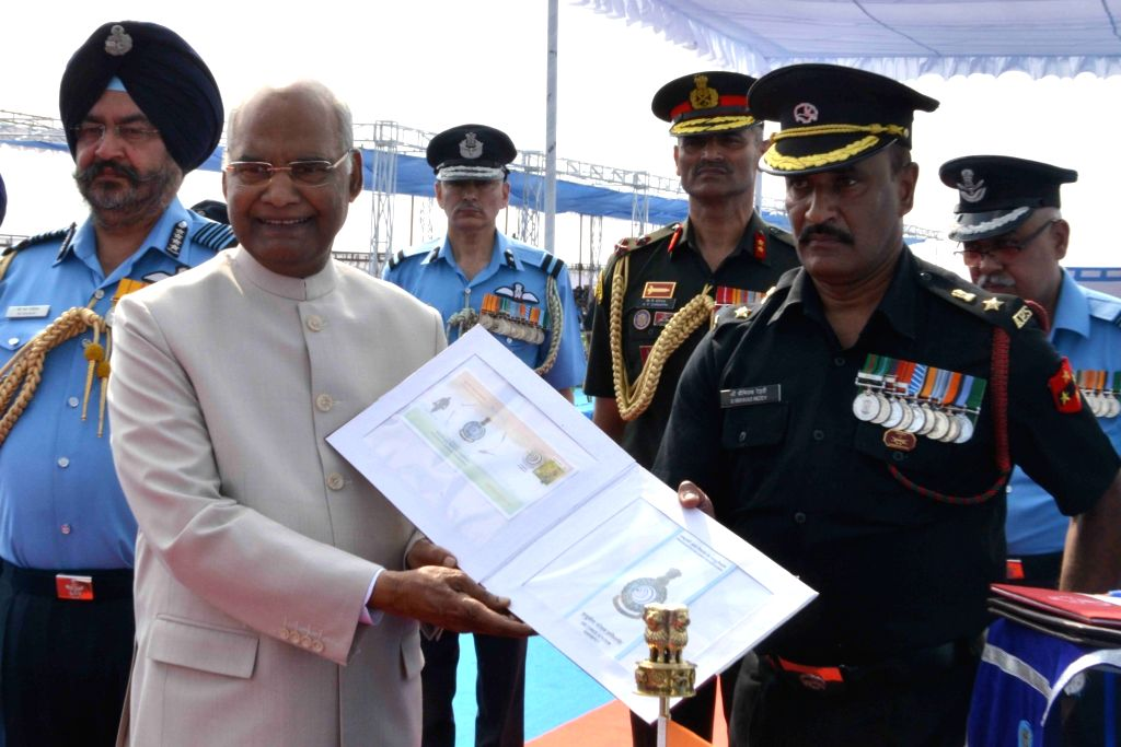 President Ram Nath Kovind confers the President's Colours to Indian Air Force (IAF) 5 Base Repair Depot (BRD) at Air Force Station, in Sulur, Tamil Nadu, on March 4, 2019. - Nath Kovind