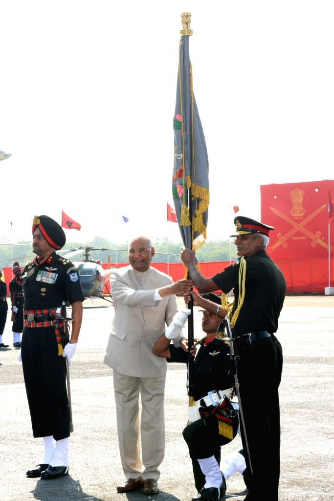 President Ram Nath Kovind during a ceremonial parade at Army Aviation Base in Nasik on Oct 10, 2019. - Nath Kovind