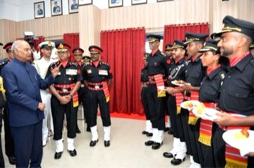 President Ram Nath Kovind during a ceremony where he awarded President???s Colours to the Corps of Army Air Defence on completion of 25 yrs as an independent arm, at Gopalpur Military ... - Nath Kovind