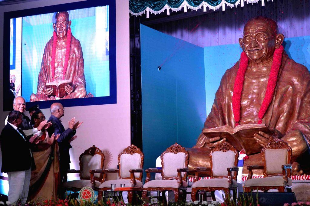President Ram Nath Kovind during a programme organised to unveil the statue of Mahatma Gandhi at Dakshina Bharat Hindi Prachar Sabha in Chennai, on Feb 21, 2019. - Nath Kovind