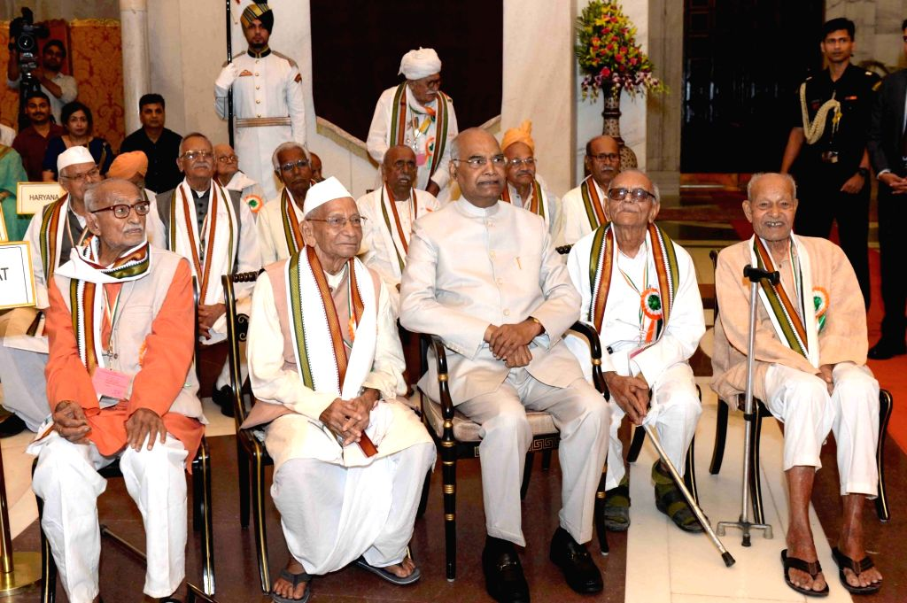 President Ram Nath Kovind during a reception for the Freedom Fighters at Rashtrapati Bhavan in New Delhi on Aug 9, 2018. - Nath Kovind