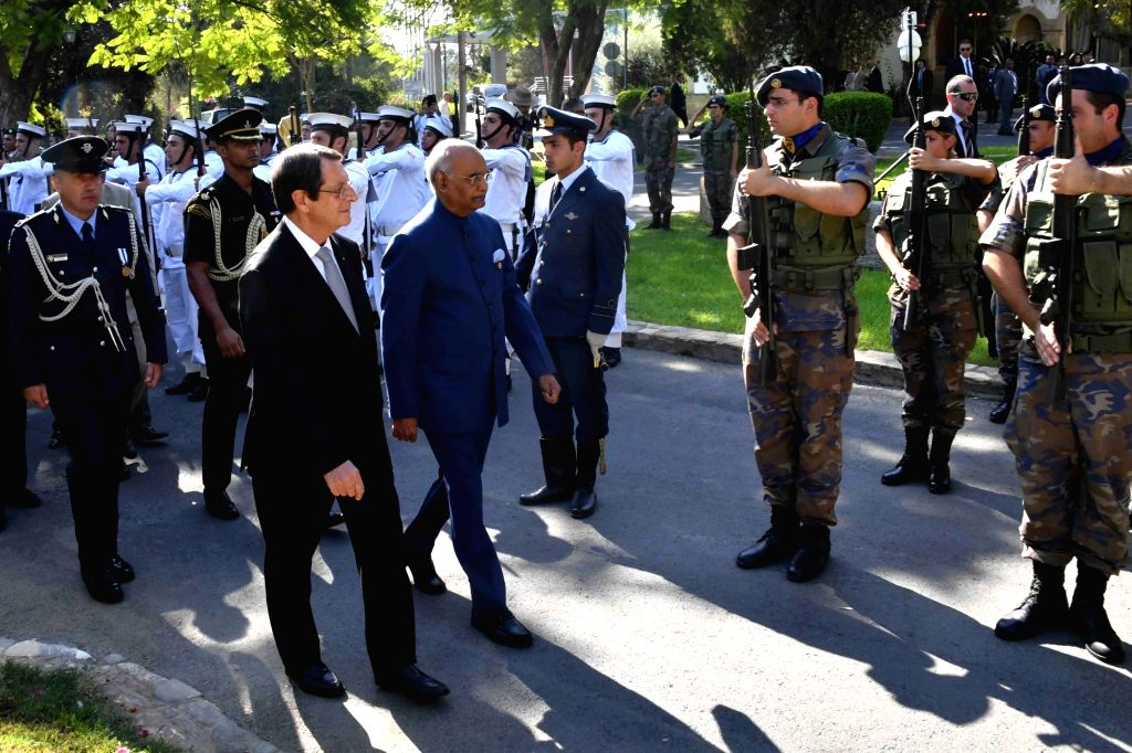 President Ram Nath Kovind during his Ceremonial Reception in Nicosia, Cyprus on Sept 3, 2018. Also seen Cyprus President Nicos Anastasiades. - Nath Kovind
