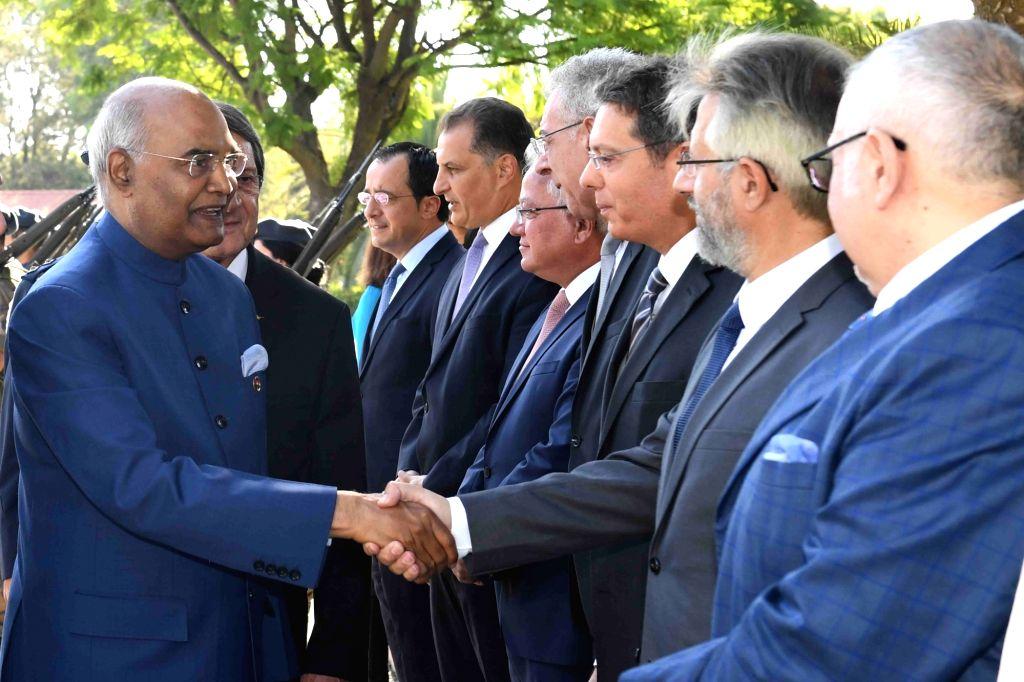 President Ram Nath Kovind during his Ceremonial Reception in Nicosia, Cyprus on Sept 3, 2018. - Nath Kovind