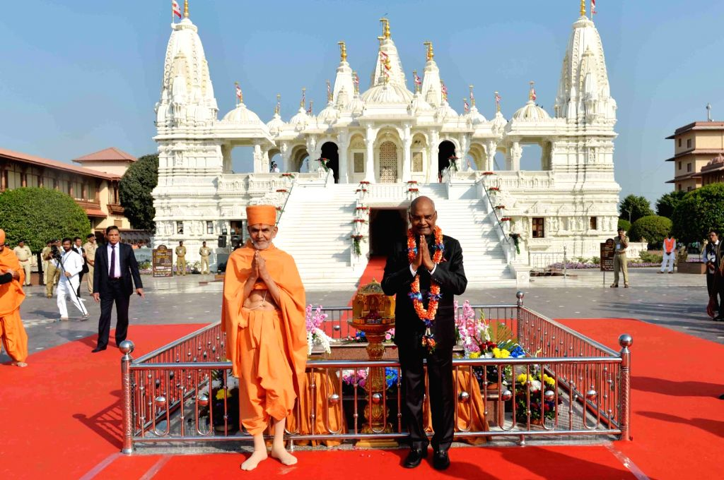 President Ram Nath Kovind during his visit to the Akshar Deri shrine in Gondal of Gujarat's Rajkot District on Jan 22, 2018. - Nath Kovind