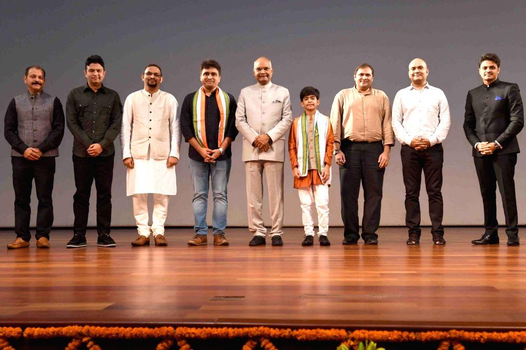 "President Ram Nath Kovind during the screening of a short film ""Chalo Jeete Hain"" based on early life of Prime Minister Narendra Modi, in New Delhi at the Rashtrapati Bhavan on ... - Narendra Modi and Nath Kovind"