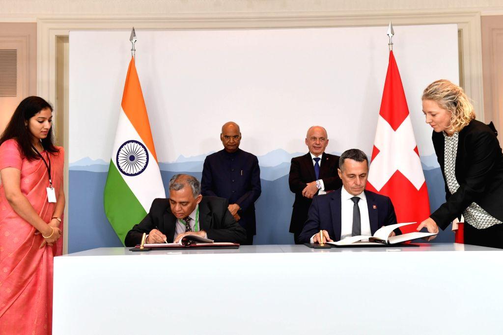 President Ram Nath Kovind during the signing of agreements at Bernerhof in Bern, Switzerland on Sep 13, 2019. - Nath Kovind