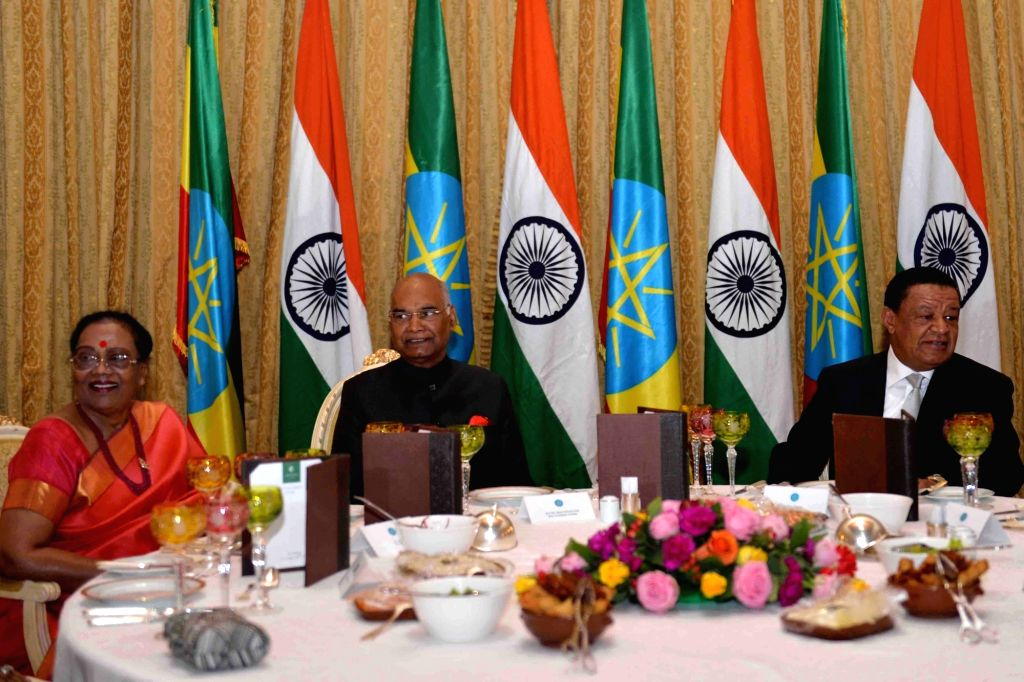 President Ram Nath Kovind during the state banquet hosted by Dr. Mulatu Teshome, President of Ethiopia at the Presidential Palace on Oct. 5, 2017. - Nath Kovind