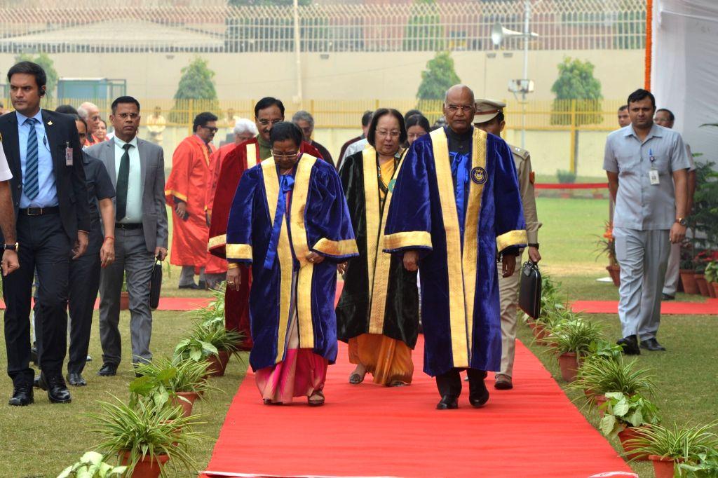 President Ram Nath Kovind, his wife Savita Kovind, Union HRD Minister Ramesh Pokhriyal Nishank and Manipur Governor and Jamia Millia Islamia (JMI) Chancellor Najma Heptulla during JMI's ... - Ramesh Pokhriyal Nishank, Najma Heptulla and Nath Kovind