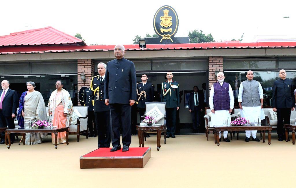 President Ram Nath Kovind, his wife Savita Kovind, Prime Minister Narendra Modi, Defence Minister Rajnath Singh, Navy Chief Admiral Karambir Singh and Delhi Lieutenant Governor Anil Baijal ... - Narendra Modi, Nath Kovind and Rajnath Singh