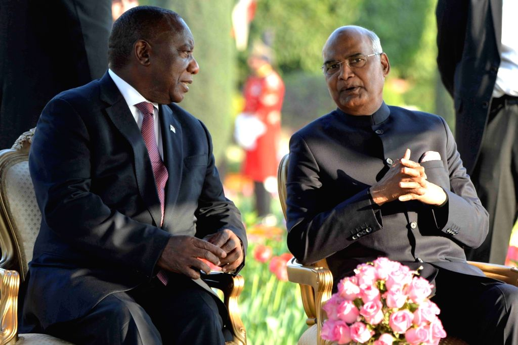 President Ram Nath Kovind in a conversation with South African President Matamela Cyril Ramaphosa during 'At Home' reception organised at at Rashtrapati Bhavan in New Delhi, on Jan 26, ... - Nath Kovind