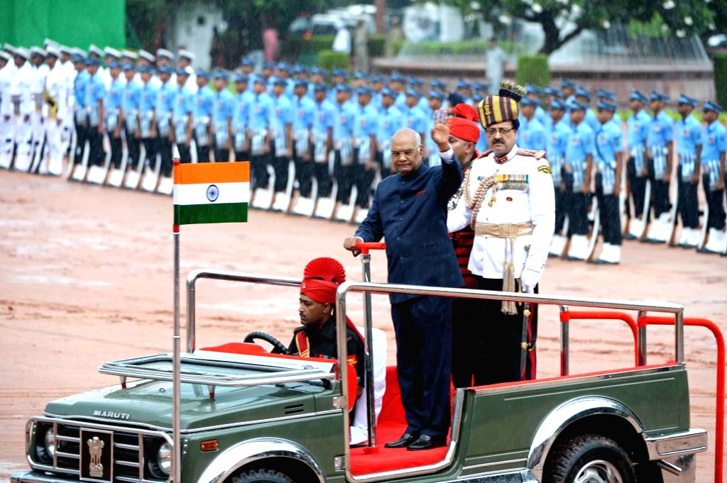 President Ram Nath Kovind inspecting the Guard of Honour after the swearing-in ceremony, at Rashtrapati Bhavan, in New Delhi on July 25, 2017. - Nath Kovind