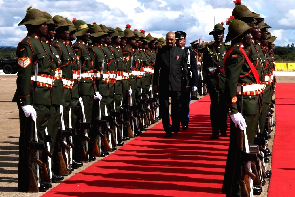President Ram Nath Kovind inspects Guard of Honour on his arrival at Kenneth Kaunda International Airport in Zambia's Lusaka  on April 10, 2018. - Nath Kovind