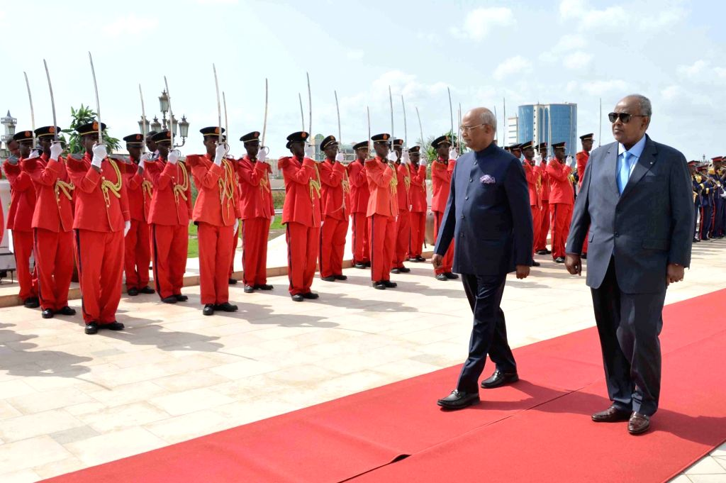 President Ram Nath Kovind inspects the Guard of Honour during a Ceremonial Welcome at Presidential Palace in Djibouti on Oct 4, 2017. Also seen Djibouti President Ismaïl Omar Guelleh. - Nath Kovind