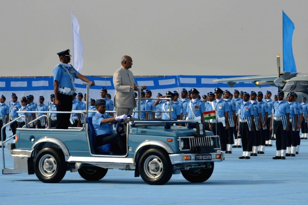 President Ram Nath Kovind inspects the Guard of Honour during a programme organised to present the President's Colours at Air Force Station, in Sulur, Tamil Nadu, on March 4, 2019. - Nath Kovind