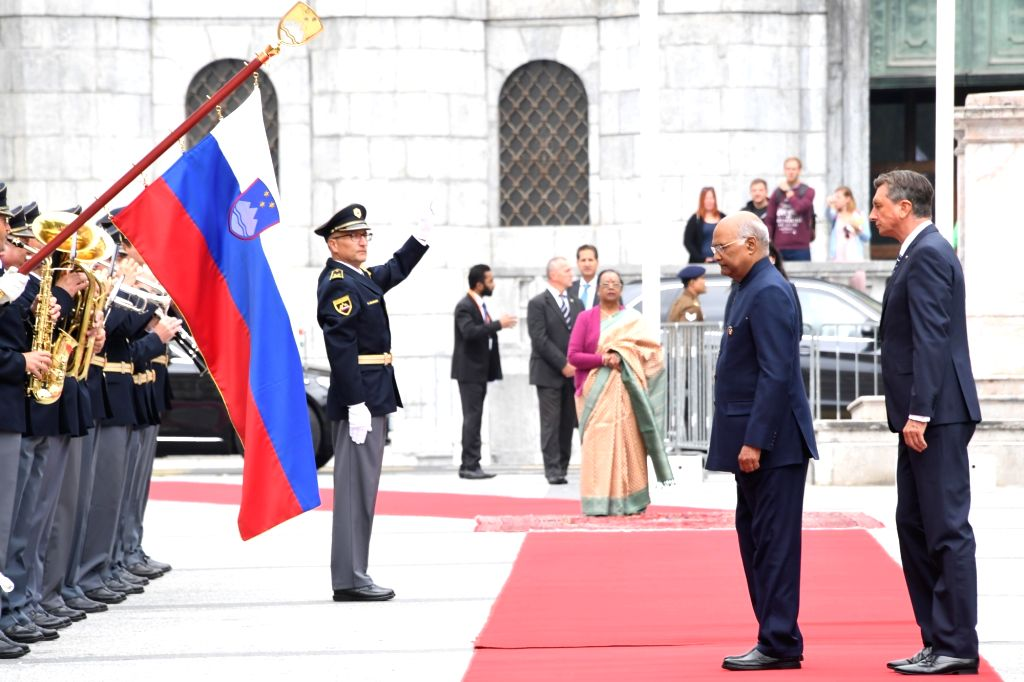 President Ram Nath Kovind inspects the Guard of Honor during a Ceremonial Reception accorded to him on his arrival at Congress Square, Slovenska Street in Ljubljana, Slovenia on Sep 16, ... - Nath Kovind