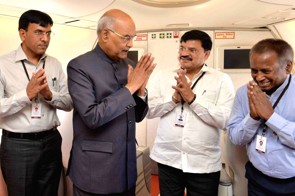 President Ram Nath Kovind interacts with the official delegates during his state visit to the Republic of Equatorial Guinea (Malabo) at Air India Boeing 747 on April 7, 2018. - Nath Kovind