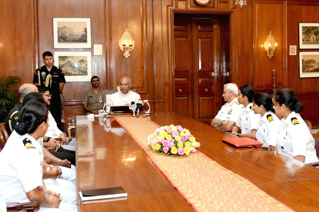 President Ram Nath Kovind interacts with the crew of INSV Tarini which successfully circumnavigated the globe, in New Delhi on June 1, 2018. fter spending 194 days at sea, the six women crew of the ... - Nath Kovind