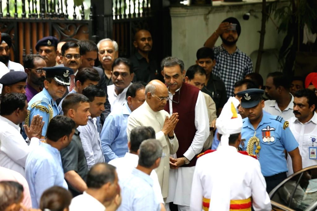 President Ram Nath Kovind leaves after paying tribute to Former Finance Minister and senior BJP leader Arun Jaitley at his residence in New Delhi on Aug 24, 2019. - Nath Kovind and Arun Jaitley