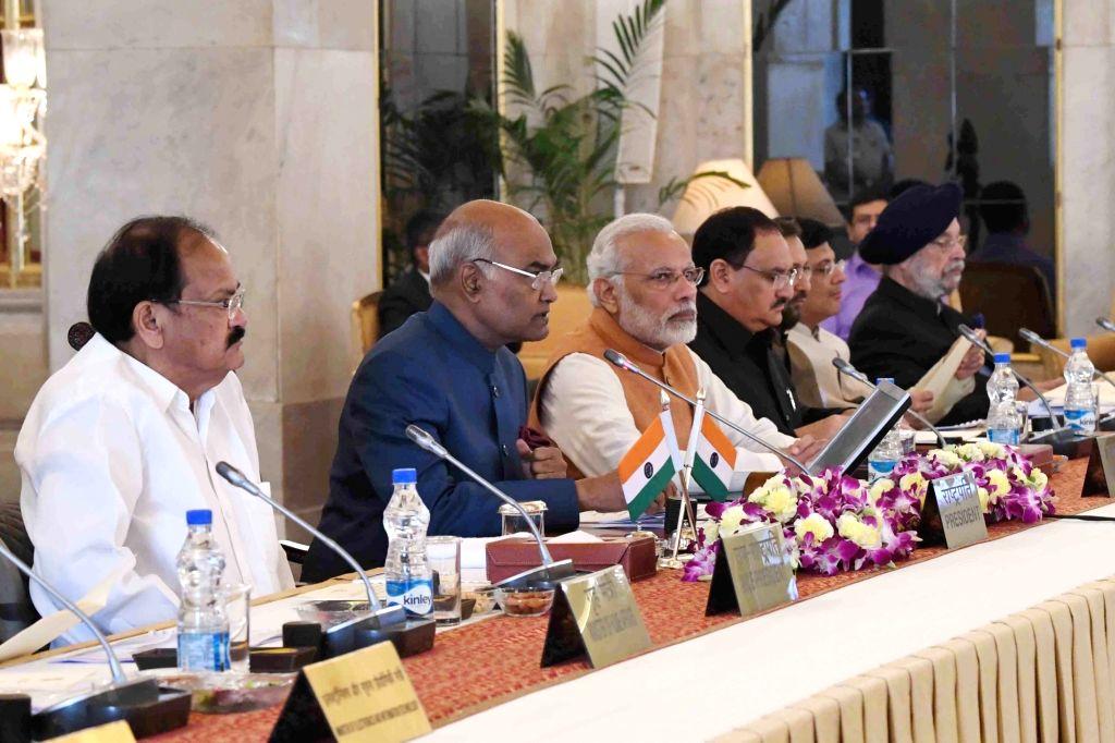 President Ram Nath Kovind, M. Venkaiah Naidu and Prime Minister Narendra Modi during inauguration of Conference of Governors at Rashtrapati Bhavan on Oct 12, 2017. - Narendra Modi, M. Venkaiah Naidu and Nath Kovind