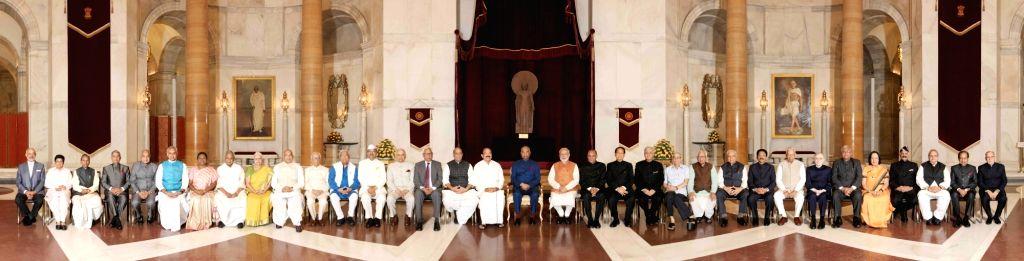 President Ram Nath Kovind, M. Venkaiah Naidu, Prime Minister Narendra Modi and Union Minister Rajnath Singh with Governors during inauguration of Conference of Governors at Rashtrapati ... - Narendra Modi, M. Venkaiah Naidu, Nath Kovind and Rajnath Singh