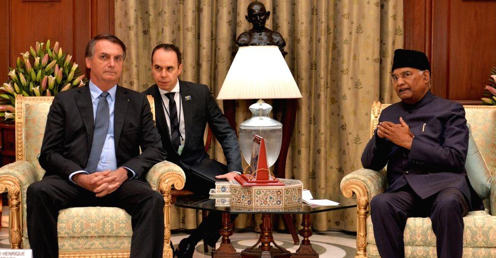 President Ram Nath Kovind meets Brazilian President Jair Messias Bolsonaro, in New Delhi on Jan 25, 2020. - Nath Kovind