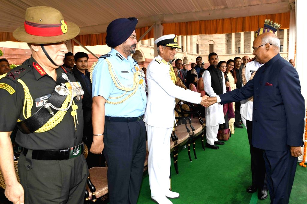 President Ram Nath Kovind meets Navy Chief Admiral Sunil Lanba, Air Chief Marshal Birender Singh Dhanoa and Army chief General Bipin Rawat at Rashtrapati Bhavan in New Delhi on July 25, ... - Nath Kovind
