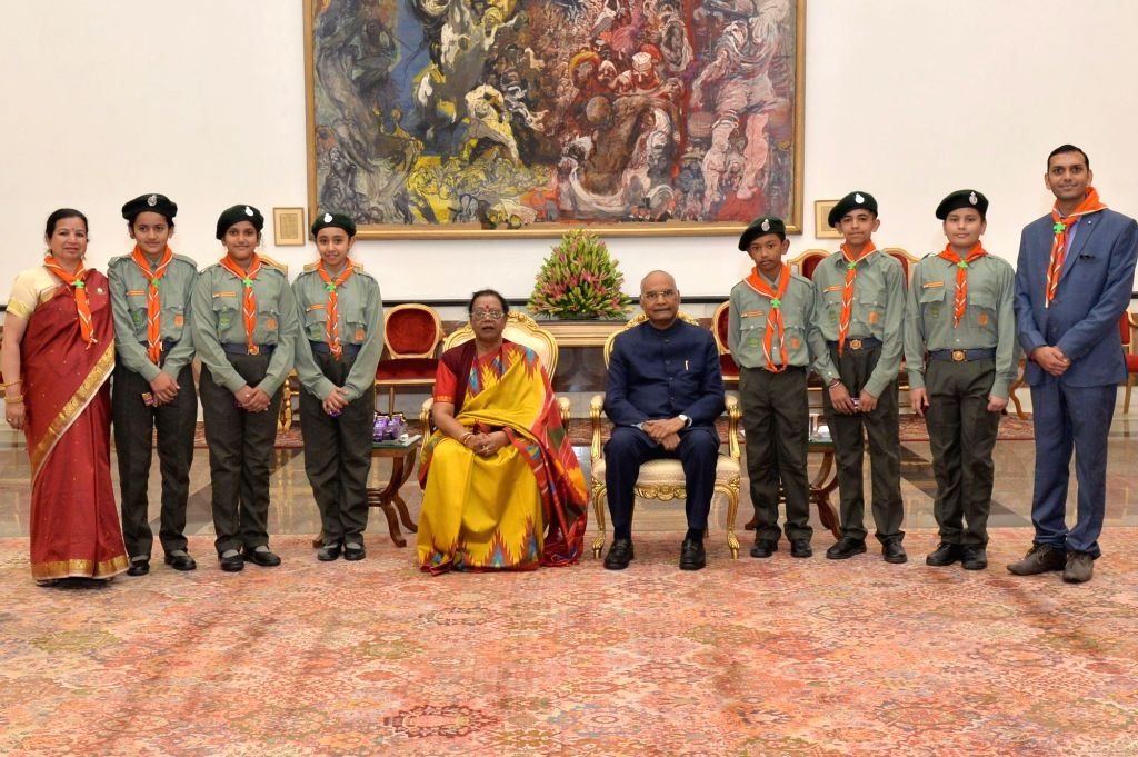 President Ram Nath Kovind meets students from various schools and educational institutions on the occasion of the birth anniversary of the the country's first Prime Minister Pandit ... - Pandit Jawaharlal Nehru and Nath Kovind