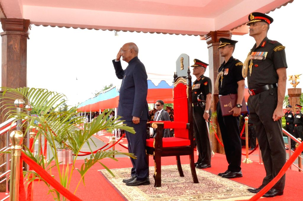 President Ram Nath Kovind pays salute to the parade during a ceremony where he awarded President???s Colours to the Corps of Army Air Defence on completion of 25 yrs as an independent arm, ... - Nath Kovind
