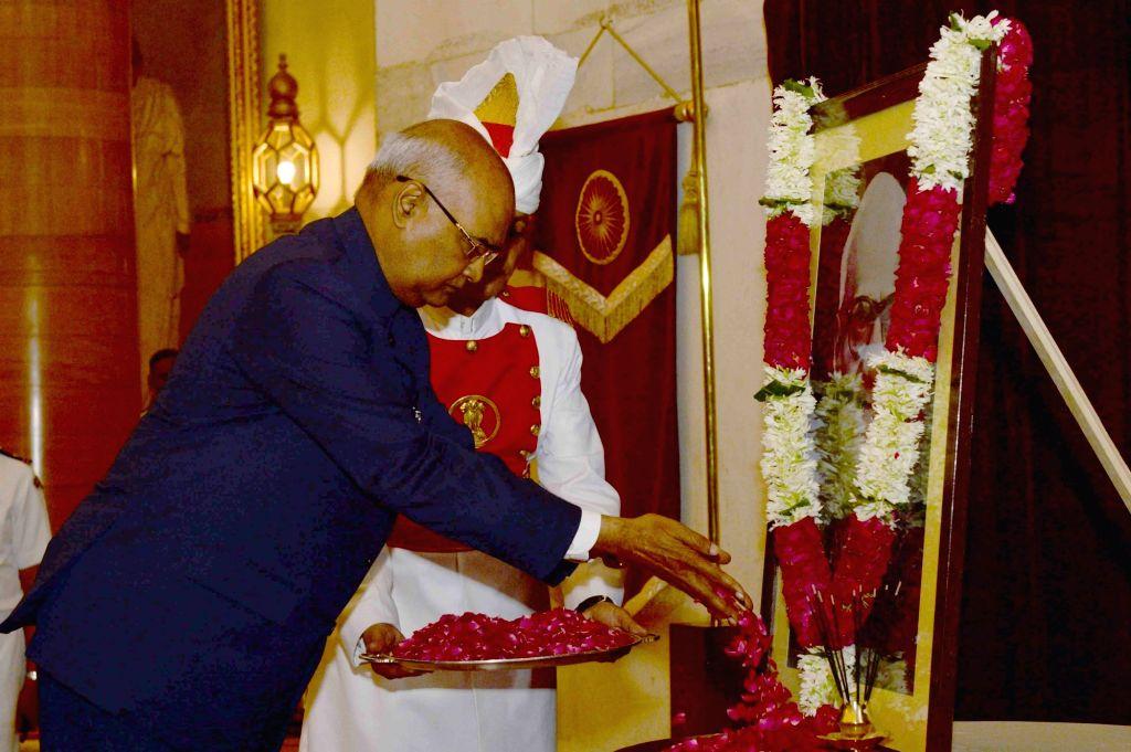 President Ram Nath Kovind pays tribute to former President of India Dr. V.V. Giri of his birth Anniversary at Rashtrapati Bhavan on Aug 10, 2017. - Nath Kovind