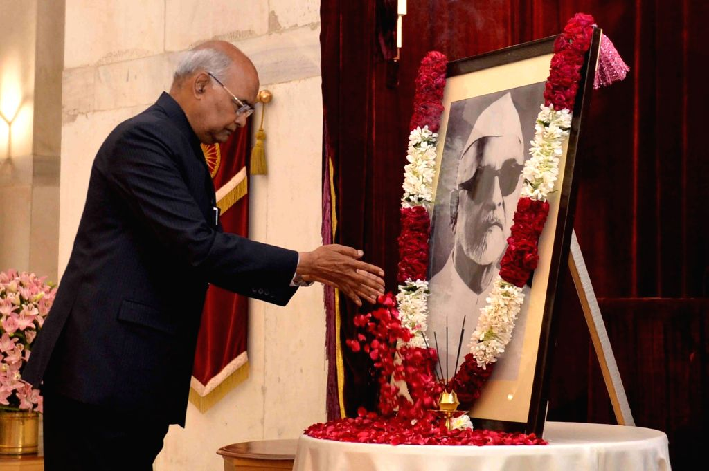 President Ram Nath Kovind pays tributes to Former President Zakir Hussain on his birth anniversary at Rashtrapati Bhavan in New Delhi, on Feb 8, 2019. - Nath Kovind