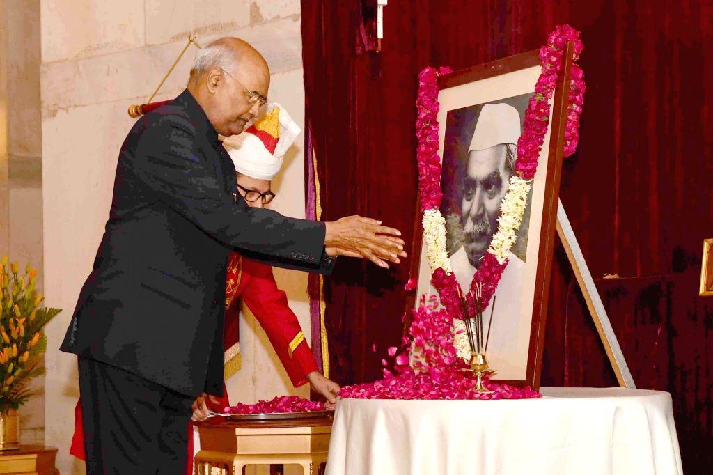 President Ram Nath Kovind pays tributes to India's first President Dr Rajendra Prasad on his 134th birth anniversary at Rashtrapati Bhavan in New Delhi, on Dec 3, 2018. - Nath Kovind