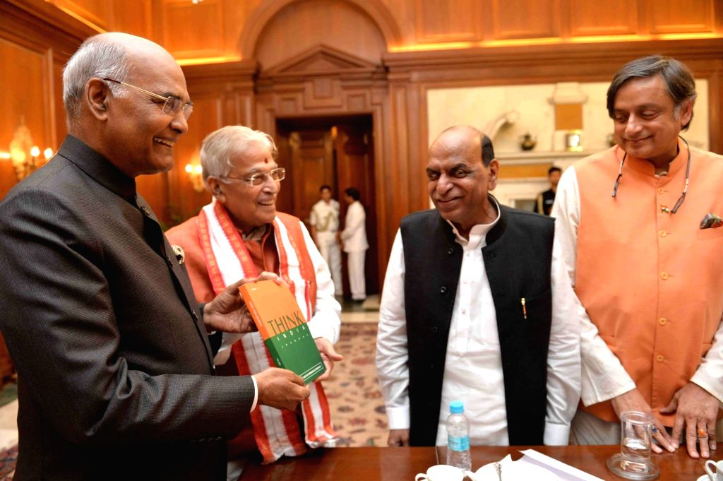 "President Ram Nath Kovind receives a copy of special issue of journal ""Think India"" from BJP veteran Murli Manohar Joshi at Rashtrapati Bhawan in New Delhi, on April 2, 2018. ... - Shashi Tharoor, Nath Kovind, Murli Manohar Joshi and D K Tripathi"