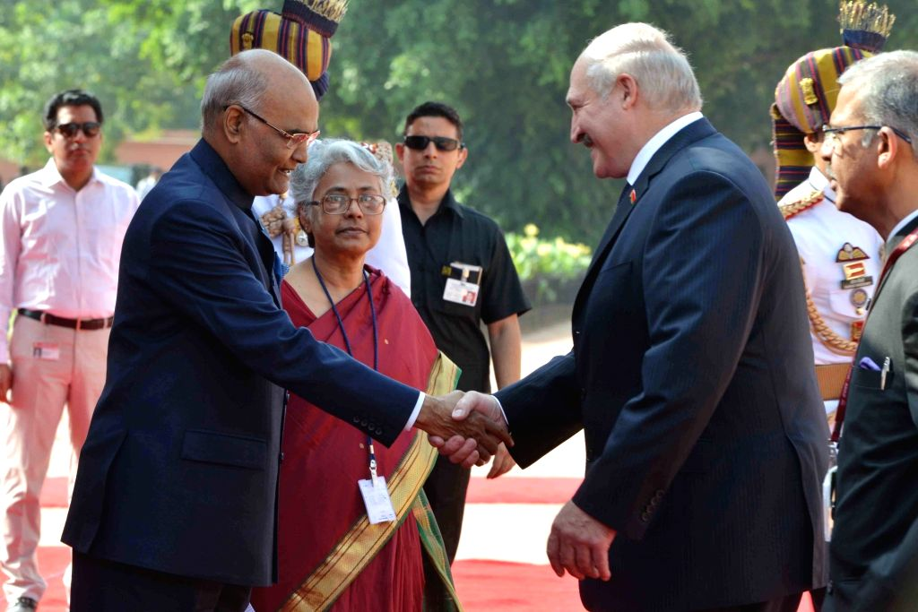 President Ram Nath Kovind receives Alexander Lukashenko, President of the Republic of Belarus during his ceremonial reception at Rashtrapati Bhavan on Sept. 12, 2017. - Nath Kovind