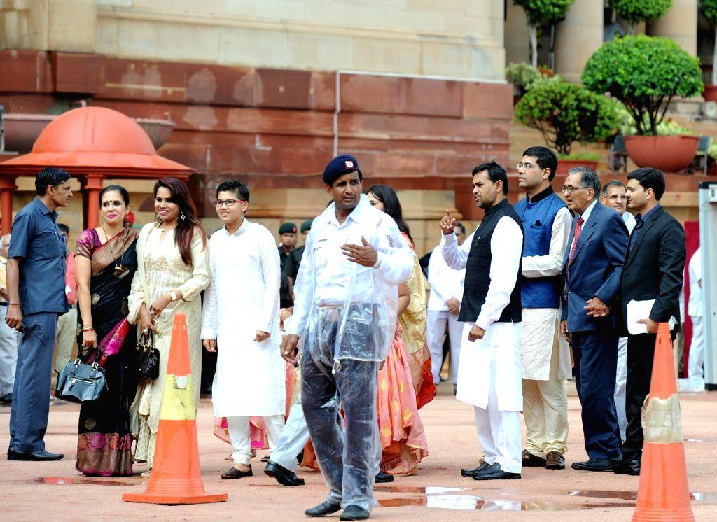 President Ram Nath Kovind's family at his swearing-in ceremony, in New Delhi, on July 25, 2017. - Nath Kovin